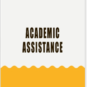 WHITE AND YELLOW BACKGROUND WITH THE WORDS ACADEMIC ASSISTANCE