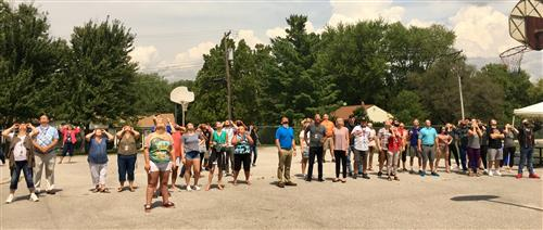 Pearce Students and Staff Watching the Eclipse