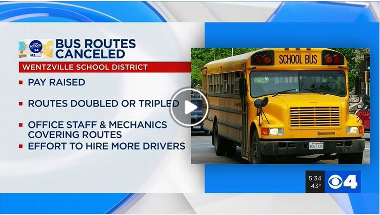 Driver shortage cancels 16 school bus routes in Wentzville School District